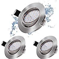 bapro Lot de 3 Spot Encastrable LED Orientable, 5W 500LM 3000K IP44 60° Orientable Plafonnier Encastré, 26mm ultra mince…