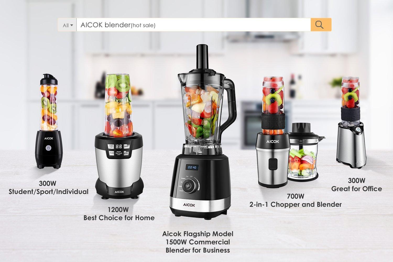 Mixer-Aicok-Smoothie-Maker-700-Watt-Blender-4-in-1-Multifunktion-Mixer-Chopper-Kaffeemhle-Standmixer-24000UMin-600ml-Sport-Flasche-BPA-frei-Tritan-EdelstahlSchwarz