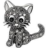 BESTOYARD Spilla a forma di gatto con strass, per donna e ragazza, accessorio (nero)