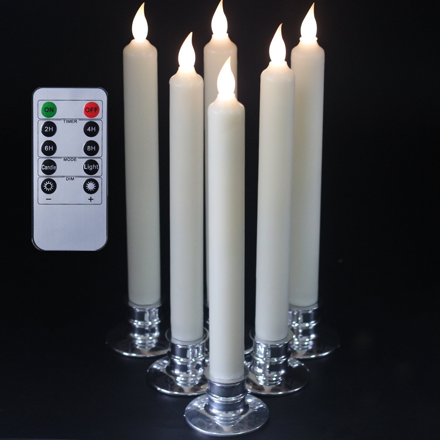 set of 6 flameless ivory battery powered taper candles with remote led candles waxcandle holder included amazoncouk kitchen u0026 home