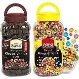 Swad Fruit Rings N Balls & Choco Vanilla Fills, Combo of 2 Jars (Multigrain Fruit Loops & Chocos Koko Fills Cereal) Jar, 680