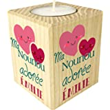 Bougie personnaliséeMa Nounou Adorée – Porte Bougie en bois personnalisé avec le prénom – Cadeau de fin d'année pour remerci