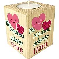 Bougie personnalisée Ma Nounou Adorée – Porte Bougie en bois personnalisé avec le prénom – Cadeau de fin d'année pour…