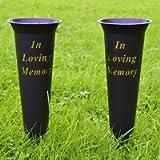 Set of 2 Black In Loving Memory Spiked Memorial Grave Flower Vases