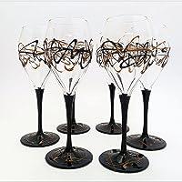 Set 6 Calici Vino Jazz Nero-Bronzo in Vetro dipinti a mano Murano Style Venezia