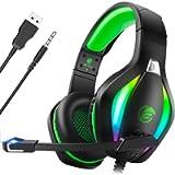 Fachixy Cuffie Gaming per PC, PS4, PS5, Xbox One, Switch con Luce RGB, Cuffie da Gaming con Eliminazione del Rumore con…