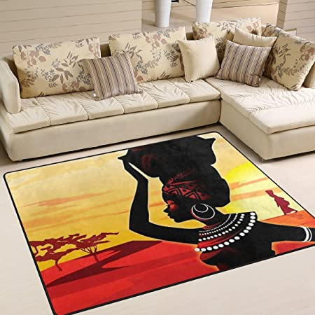 INGBAGS Super Soft Modern African Women Area Rugs Living Room Carpet  Bedroom Rug For Children Play Solid Home Decorator Floor Rug And Carpets 63  X 48 Inch: ...