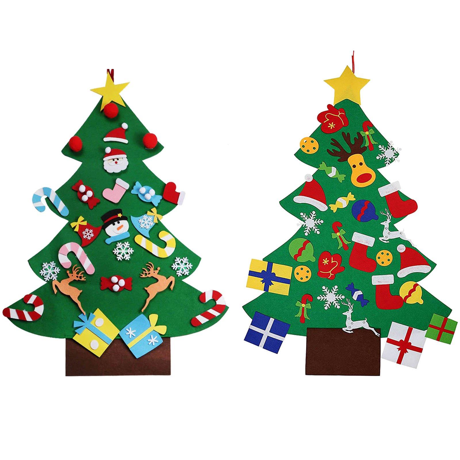 Felt Christmas Decorations Uk.Vlovelife 3ft Felt Christmas Tree 26pcs Detachable Hanging Ornaments Xmas Party Home Decor Kids Diy Xmas Gift Xmas Uk