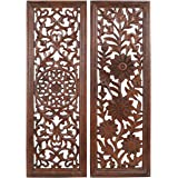 Wooden Crafts Handmade 36x1x12 inches Wooden Wall Panel. in Brown Color. Set of Two