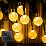 Solar Garden Lights 10.9M/35.6FT 60 LED Outdoor Fairy String Lights with 8 Modes, Waterproof Crystal Ball lights for Outside