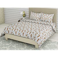 Linenwalas King Size Bed Sheets with Pillow Covers | 300 TC Cotton Bedsheet Easy Wash Soft Sateen Weave 108x108 inch - Ivory Mustard Floral