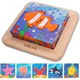 Wooden Block Puzzles Toddlers Kids Toys Montessori Learning Games Educational Interactive Toys for 3 4 5 Preschool with Stora
