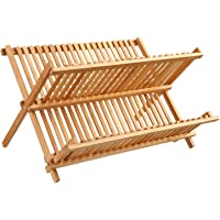 Égouttoir à vaisselle en Bambou capacité 34 assiettes