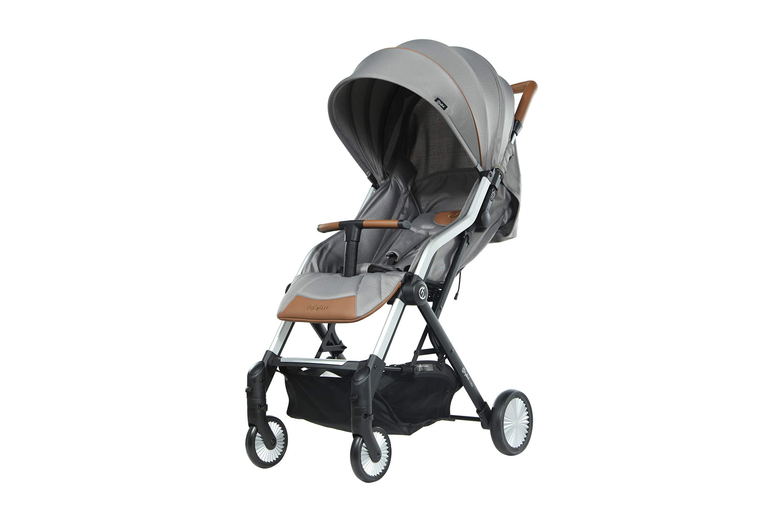 Hybrid CABI Stroller, Stone Oyster Lie-flat recline and ventilation window Cabin fold design Adjustable canopy and footrest 1