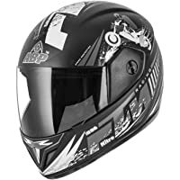 ABP Nitro Motorcycle Full Print Black Racing Grey Motorcycle Helmet (Matte)