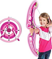 Ajmeri Traders Bow and Arrow Set for Kids Outdoor Play Toy Princess Basic Archery with 3 Suction Cup Arrows, LED Light Up Bow, Target Quiver, Pink Toy, Hunting Game Quiver & Holder Stand - Function Series Girls, (Pink)