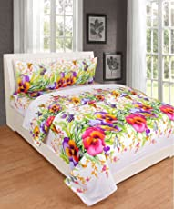 Ab Home Decor 160 TC Cotton Queen Size Bed Sheet Double with 2 Pillow Cover King Size-White Base Flowers