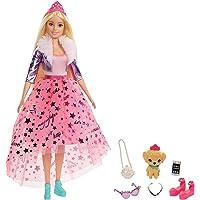 Barbie Princesse Adventure poupée blonde avec jupe rose en tulle, figurine chiot et accessoires inclus, jouet pour…