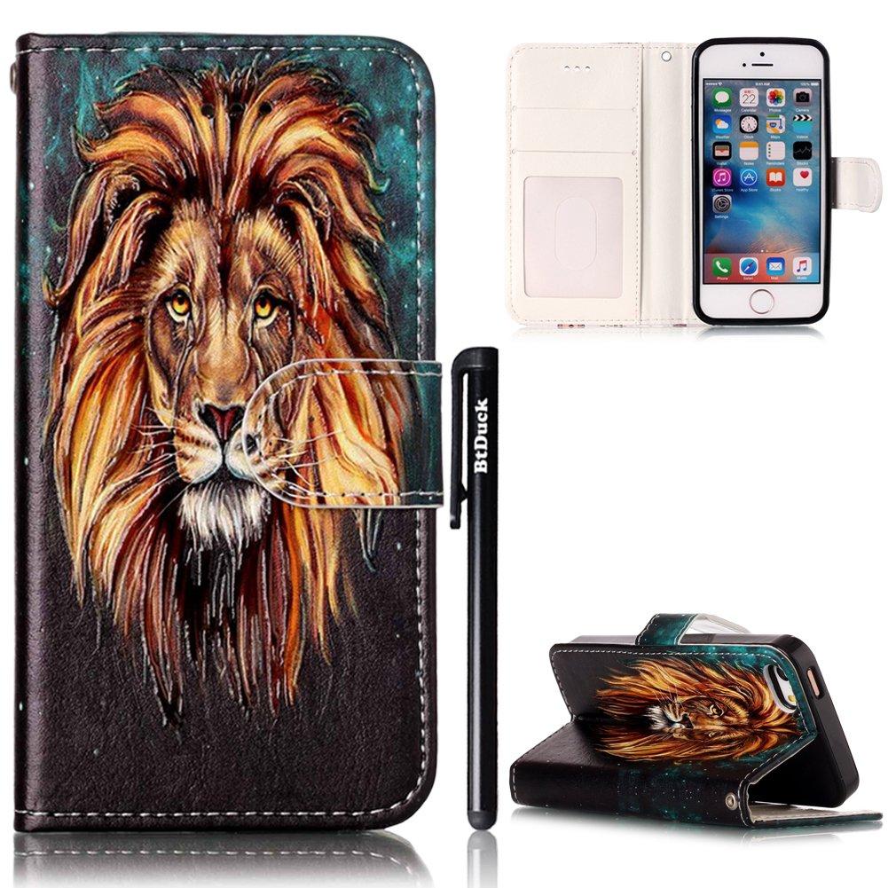 Cover per iPhone SE 5S Flip Libro,BtDuck Ultra Slim PU Pelle Borsa e Portafoglio Tasca Progettato S
