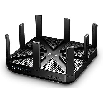 TP-Link Routeur - Wi-Fi Gigabit Tri-Bande: 1000 Mbps en 2.4 GHz, 2x 2167 Mbps en 5 GHz, 5 ports Ethernet Gigabit, 1 port USB 3.0 + 1 port USB 2.0 (Archer C5400)- Noir- AC Tri-bande Hyper rapide