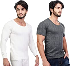 ZIMFIT Cotton Men's or Boy's Winter wear Round Neck Thermal,Warmer Top in Dark Grey, White Colour (Pack of 2)