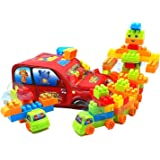 FunBlast Building Blocks for Kids with Wheel, Bag Packing, Best Gift Toy for Girls, Boys Multicolor (100 Pieces)