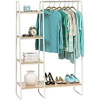 Iris Ohyama - Portant penderie à vêtements / Porte-manteaux avec étagères latérales en bois MDF et métal - Garment Rack…