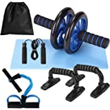 Lixada Rueda Abdominal Kit 5 en 1 con Push-UP Bar Cuerda para Saltar Esterilla de Rodilla para Entrenamiento Muscular Fitness