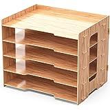 Lesfit Organisateur de Bureau Bois, Rangement Documents/Papier/Fichier, 5 Compartiment