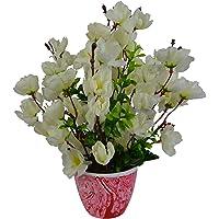 Fancy Mart Artificial Blossom Flower Plant Arrangement in Marble Finish Pot (30 cm, White)