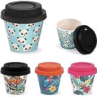 IDRINK® - Mini-tasse en bambou pour le café 90ml SET 2 pièces, 2 pièces par paquet (Blue Map)