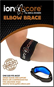 ionocore® Elbow Support Brace - Golf & Tennis Elbow Arm Strap - Lightweight and Adjustable with EVA Compression Pad - One-Siz