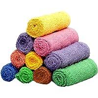Weavers Villa Set of 10 Multicolored Cotton Face Towels [Size: 30cm X 30cm]