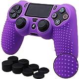 Pandaren® BORCHIE silicone custodie cover pelle antiscivolo per PS4 controller x 1 (viola) + FPS PRO thumb grips pollice pres