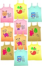 SIRTEX Kids Super-Soft 100% Cotton Multi-Color Slips/Camisole (Pack of 10)