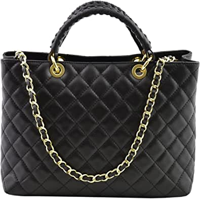 Borsa A Mano In Vera Pelle Trapuntata Colore Nero - Pelletteria Toscana Made In Italy - Borsa Donna