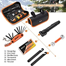 Newest Arrival Imported Bike Repair Kit, Bicycle Repair Kits Bag with Portable Bike Pump 16-in-1 Bike Multi Tool Kit Sets