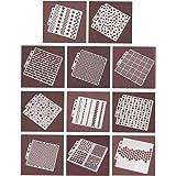 Ai-life 11 Stks Gemengde Geometrische Patroon Vierkante Vorm Stencil, Plastic Planner Schilderij Stencils Journal/Notebook/Da