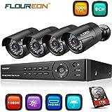 FLOUREON Sytème de Sécurité 8CH DVR AHD 1080N ONVIF + 4 Caméra de Sécurité 1080P Etanche + 1To Disque Dur Système de Surveillance Vision Nocturne Détection de Mouvement Vision à Distance par Phone P2P