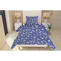 SinghsVillas Decor Kid's Cartoon 160 TC Cotton Single Bedsheet with 2 Pillow Covers - Multicolour