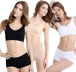 ALBATROZ Pack of 3 Women's Clothing Lingerie Set Air Bra Padded with Boy Short Panty.(White,Blk,Skin)
