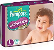 Pampers Active Baby Diapers, Large (78 Count)
