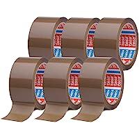 tesapack 64014 im 6er Pack - Geräuscharmes Paketklebeband zum Verpacken von Paketen und Versandschachteln - braun - 6…