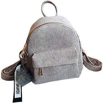 f14ff6a70e JAGENIE Women Corduroy Mini Backpack Girls School Bags Small Travel Handbag  Shoulder Bag Light Gray