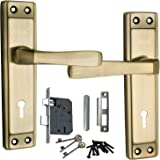 MORTICE HANDLE, MORTICE LOCK , DOOR LOCK , LOCK Atom Mortise Lock Set 607 Brass Antique Finish with Two Sided Key Hole Lock