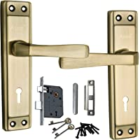 Mortise Handle, Mortise Lock, Door Lock, Lock, Atom Mortise Lock Set 607 Brass Antique Finish with Lezend Double Action Lock Two Sided Key Hole Lock,Mortise Lock,Door Lock