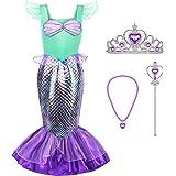 Tacobear Sirena Disfraz Niña Princesa Ariel Sirena Vestidos Ropa Princesa Disfraz con Princesa Joyas Tiara Varita Mágica para