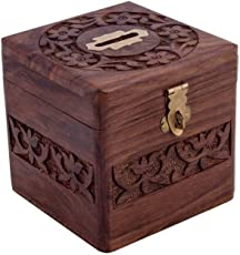 Vian Handmade Wooden Square Piggy Bank For Money And Coins For Kids - Multi Color