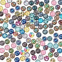 PandaHall Gemischte Farbe Bunt Runde Mosaik Kuppel Glas cabochons ca. 200 Stück, Größe 12x4 mm