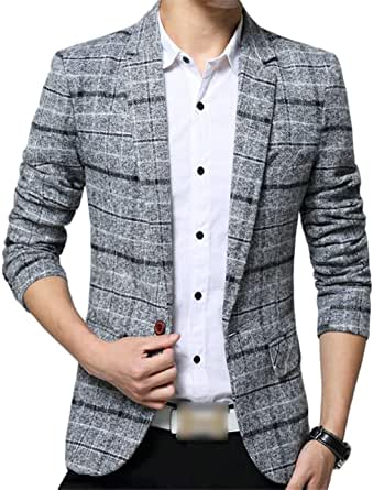 Men's Blazer Plaid Blazer Button Slim Fit 1 Modern Casual Suit Jackets Spring Basic Business Men's Blazer Lapel Men Casual Men Casual Stylish